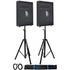 "2 Peavey PV15M PV Series 15"" 1000W Floor Speakers + 2)Stands+2)Cables+Carry Case"