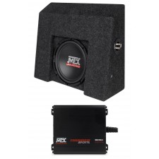 "10"" Subwoofer+Mini Amplifier For 2007-16 Chevrolet Silverado/GMC Sierra Crew Cab"