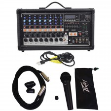 Peavey Pvi8500 400W 8-Ch. Powered Live Sound Mixer w/Bluetooth+Peavey Microphone