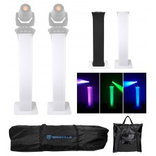 2 Totem Stands+Black+White Scrims For 2 Chauvet Intimidator Spot 355Z IRC Lights