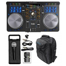 Hercules Universal DJ USB MIDI Bluetooth Controller+Backpack+Mic+Cables+Case