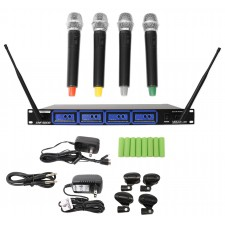 VocoPro UHF-5808-6 Professional Rechargeable Quad UHF Wireless Microphone System
