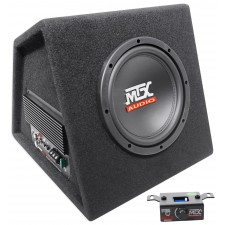 """MTX RTP8A 8"""" 120w RMS Powered Subwoofer In Vented Sub Box Enclosure+Bass Remote"""