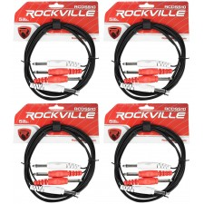 "4 Rockville RCDSS10B 10' Dual Mono 1/4"" TS to Same Cable"